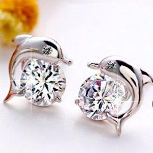 925 Sterling Silver Crystal Eye Dolphin Earrings